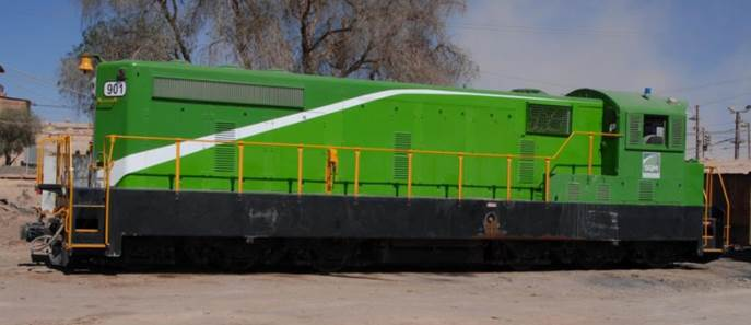 locomotive SQM 901 - Nicaragua 901 in 2008 SQM green color