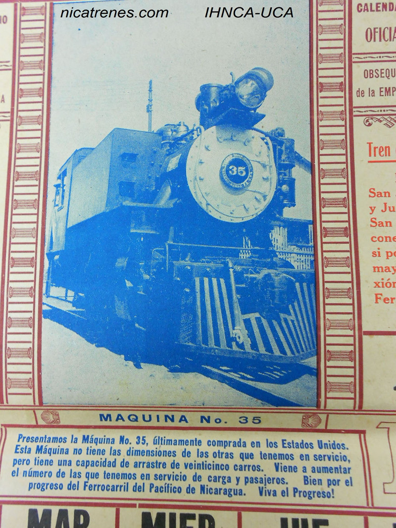 Locomotor # 35 new,  pic from April 1953 ferrocarril del pacifico calender