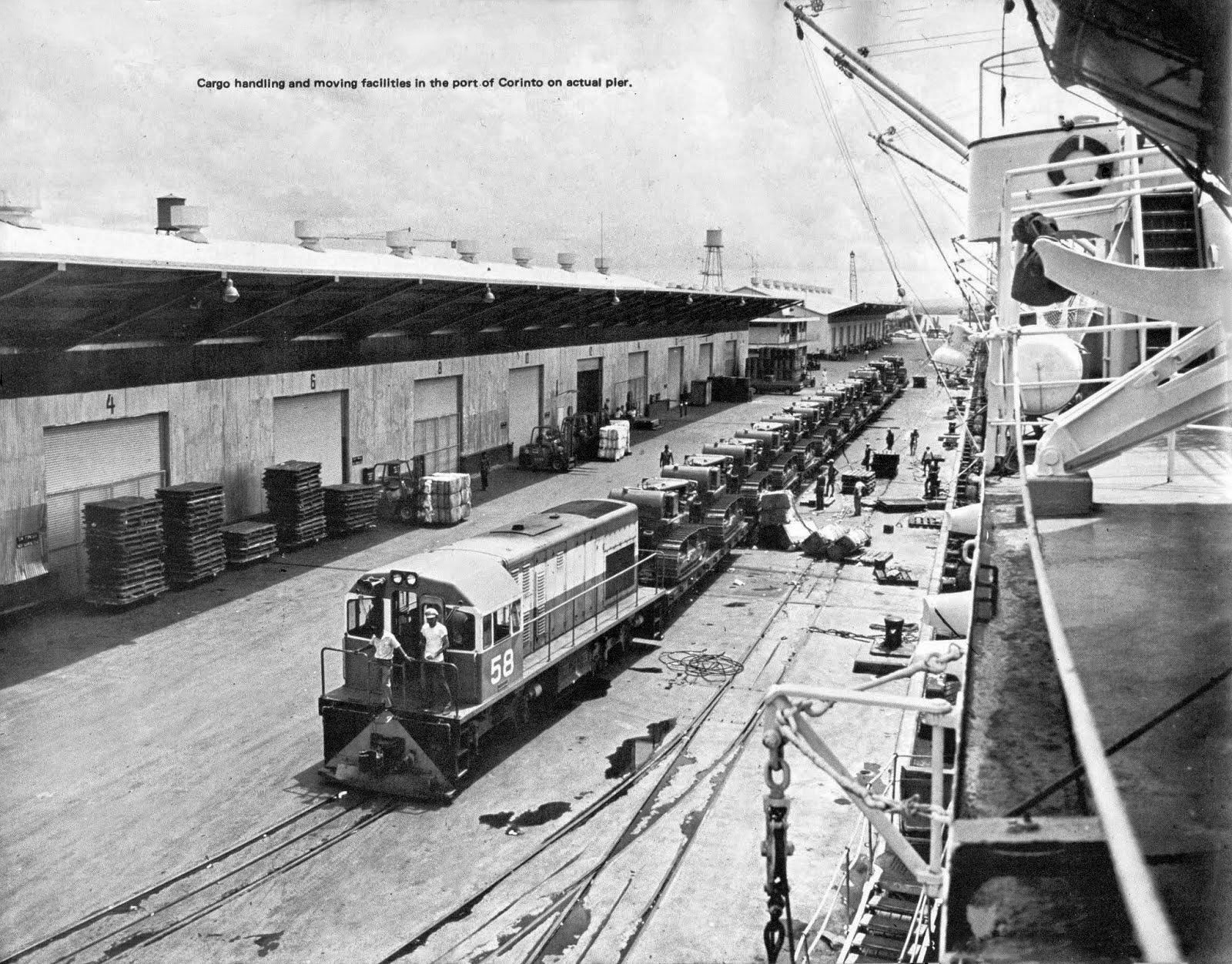 locomotive No.58 at Corinto pier with 11+ bulldozers year 1956