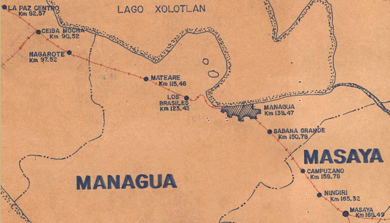 Map.of railroad from office of the NIcaragua Railroad