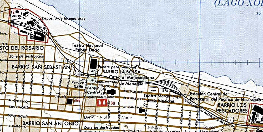 Managua Map with closeup of Railroad depository