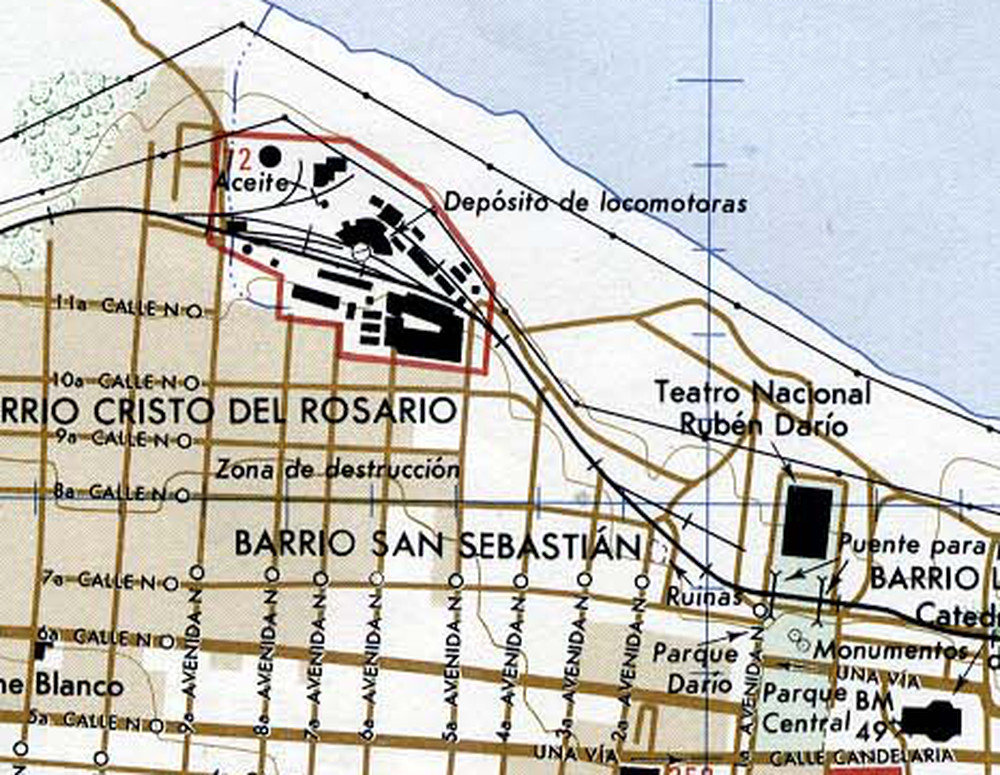 map closeup of Managua locomotive shops 1987