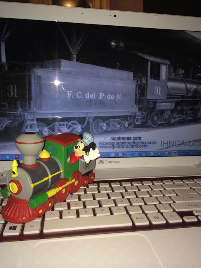micky mouse locomotive engineer with my laptop
